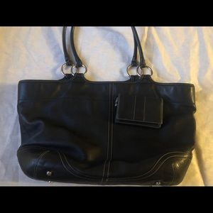 Vintage black leather coach tote + matching wallet